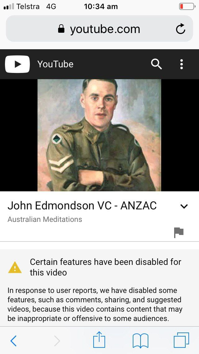 Here is the unbelievable. It is impossible to respond to this. YouTube has censored images of Australian soldiers to protect others feelings! The others are naturally Muslims. This is really taking things a bit far. This is Australia. If Muslims don't like our way of life and core beliefs then leave.